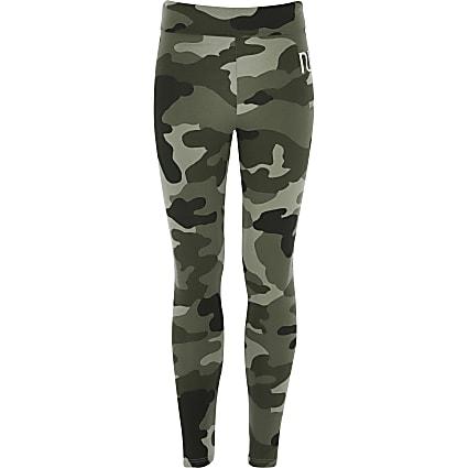 Girls khaki camo RI fold over leggings