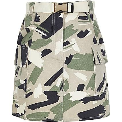 Girls Khaki Camo Utility Belted Skirt