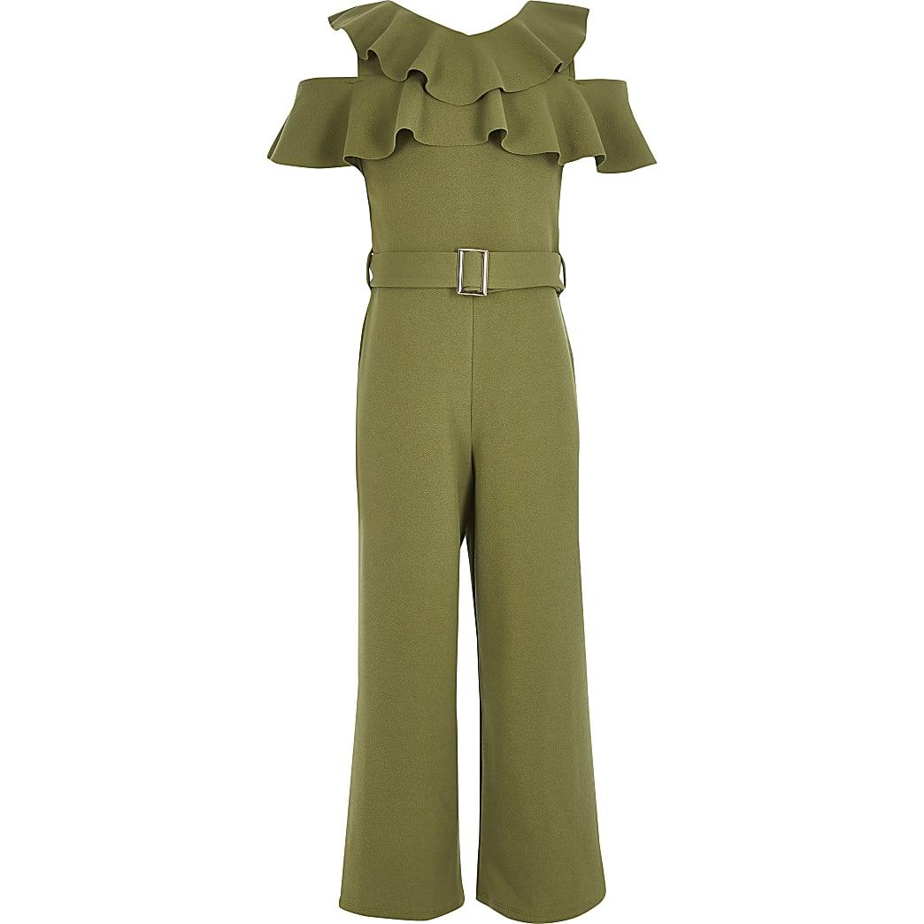 Girls khaki cold shoulder belted jumpsuit