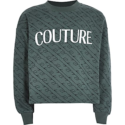 Girls khaki 'Couture' sweatshirt