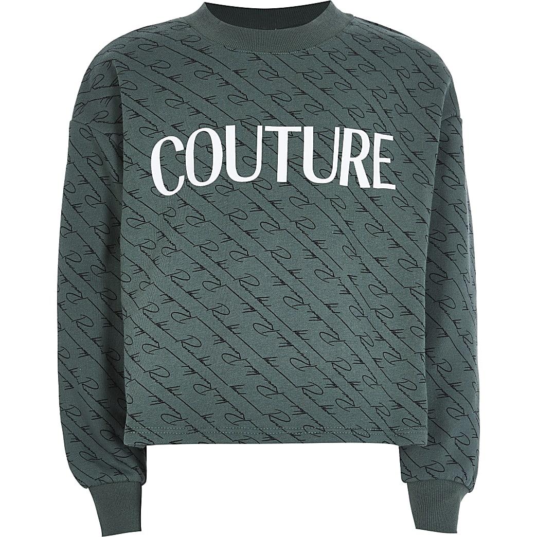Girls khaki 'Couture' sweatshirt