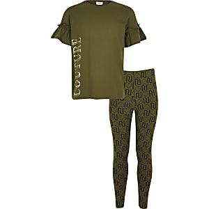Kaki T-shirt outfit met 'Couture'-print voor meisjes