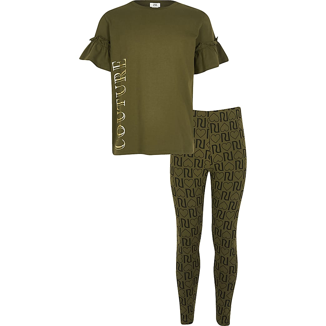 Girls khaki 'Couture' T-shirt outfit