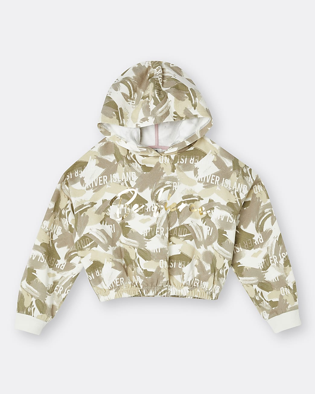 Girls khaki cropped camo print hoodie