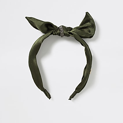 Girls khaki embellished bow headband