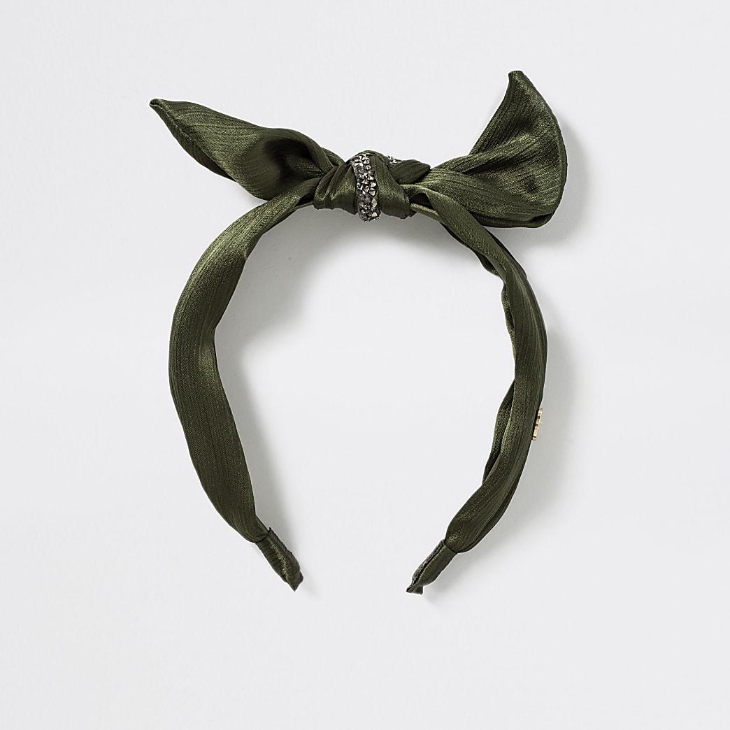Girls khaki embellished bow headband