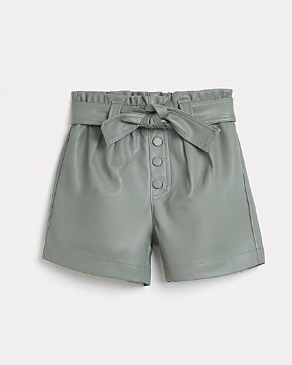 Girls khaki faux leather paperbag shorts