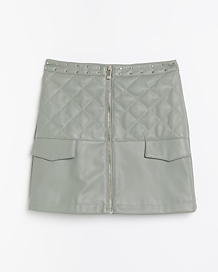 Girls khaki faux leather quilted skirt