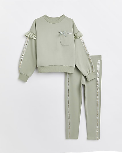 Girls khaki frill sweatshirt and leggings set