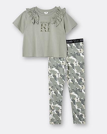 Girls khaki frill t-shirt and camo leggings