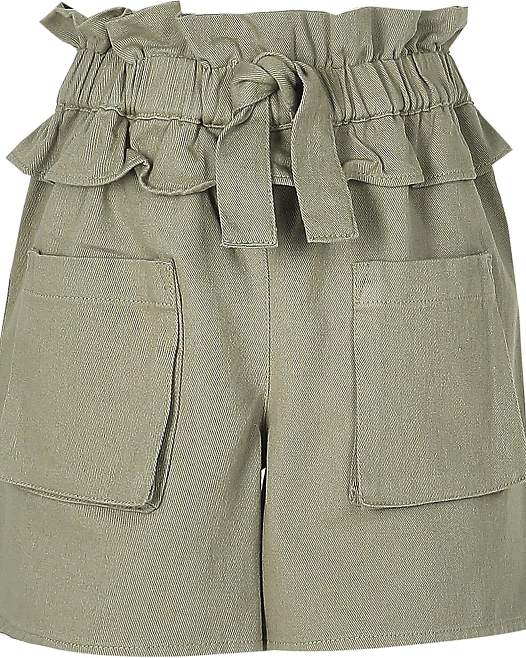 Girls khaki frill tie waist shorts