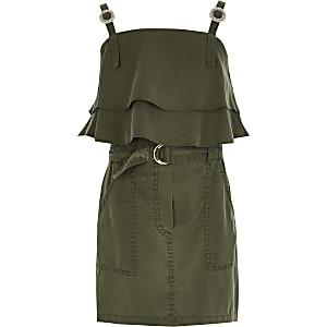 Kaki utility crop top outfit met ruches voor meisjes