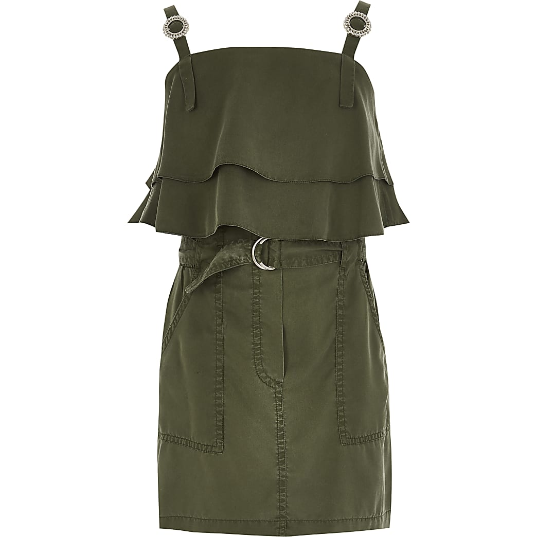 Girls khaki frill utility crop top outfit