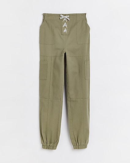 Girls khaki lace up cargo trousers