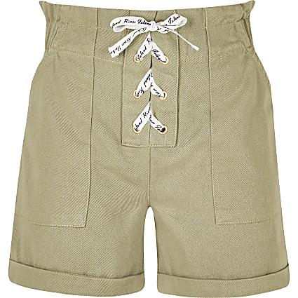 Girls khaki lace up paperbag shorts