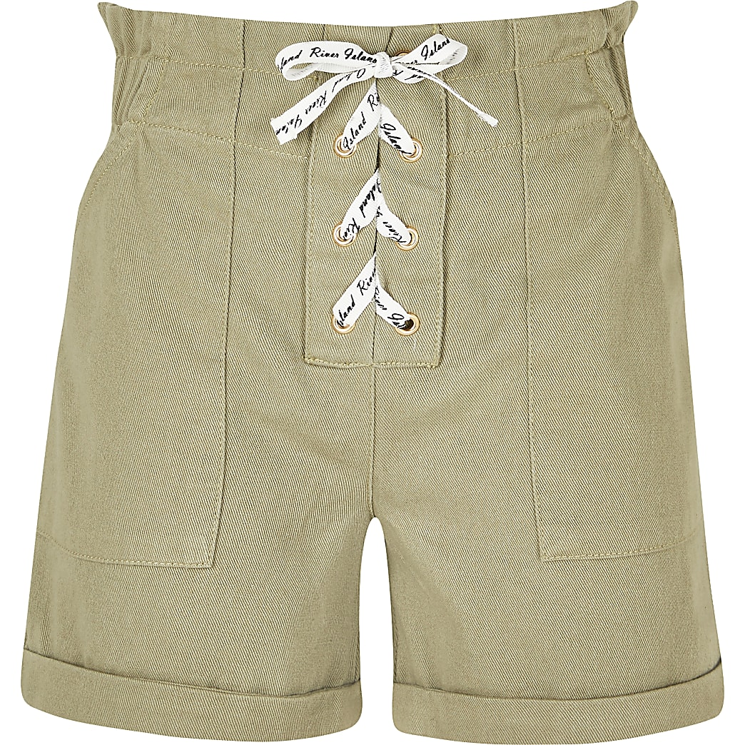 Girls khaki lace up paperbag shorts