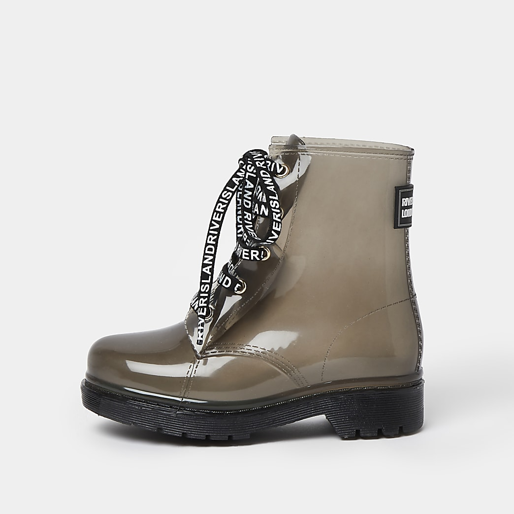 Girls khaki lace up wellie boots
