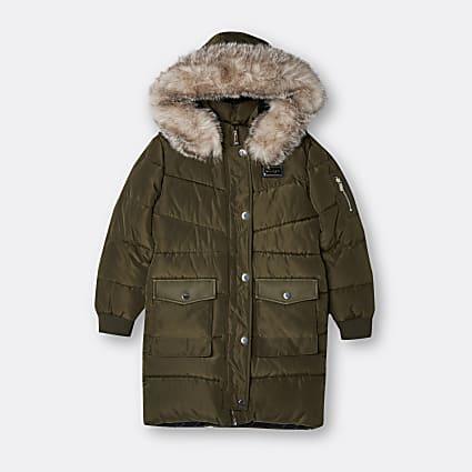 Girls khaki longline hooded puffer coat
