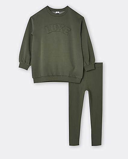 Girls khaki longline sweatshirt and leggings