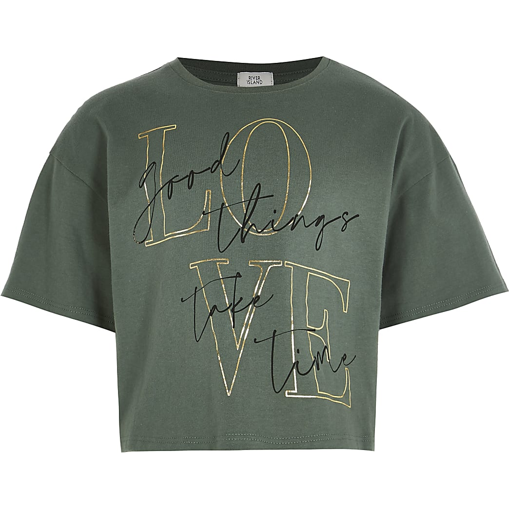 Girls khaki 'Love' print t-shirt