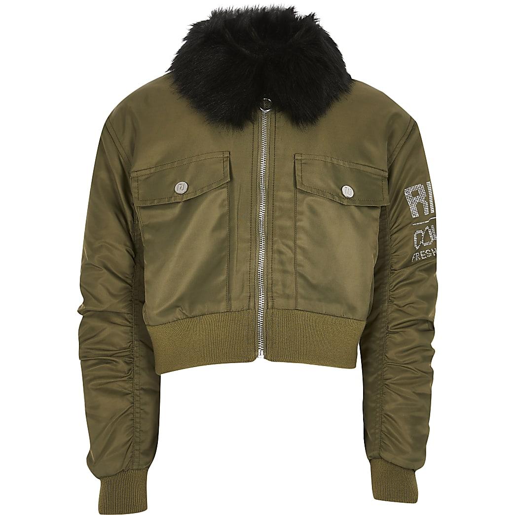 Girls khaki padded bomber jacket
