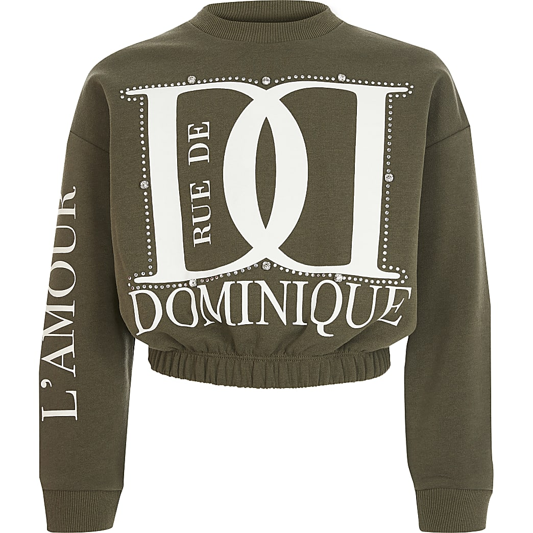 Girls khaki printed diamante sweatshirt