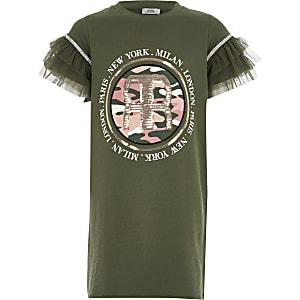 Kaki T-shirtjurk met print en mesh mouwen voor meisjes