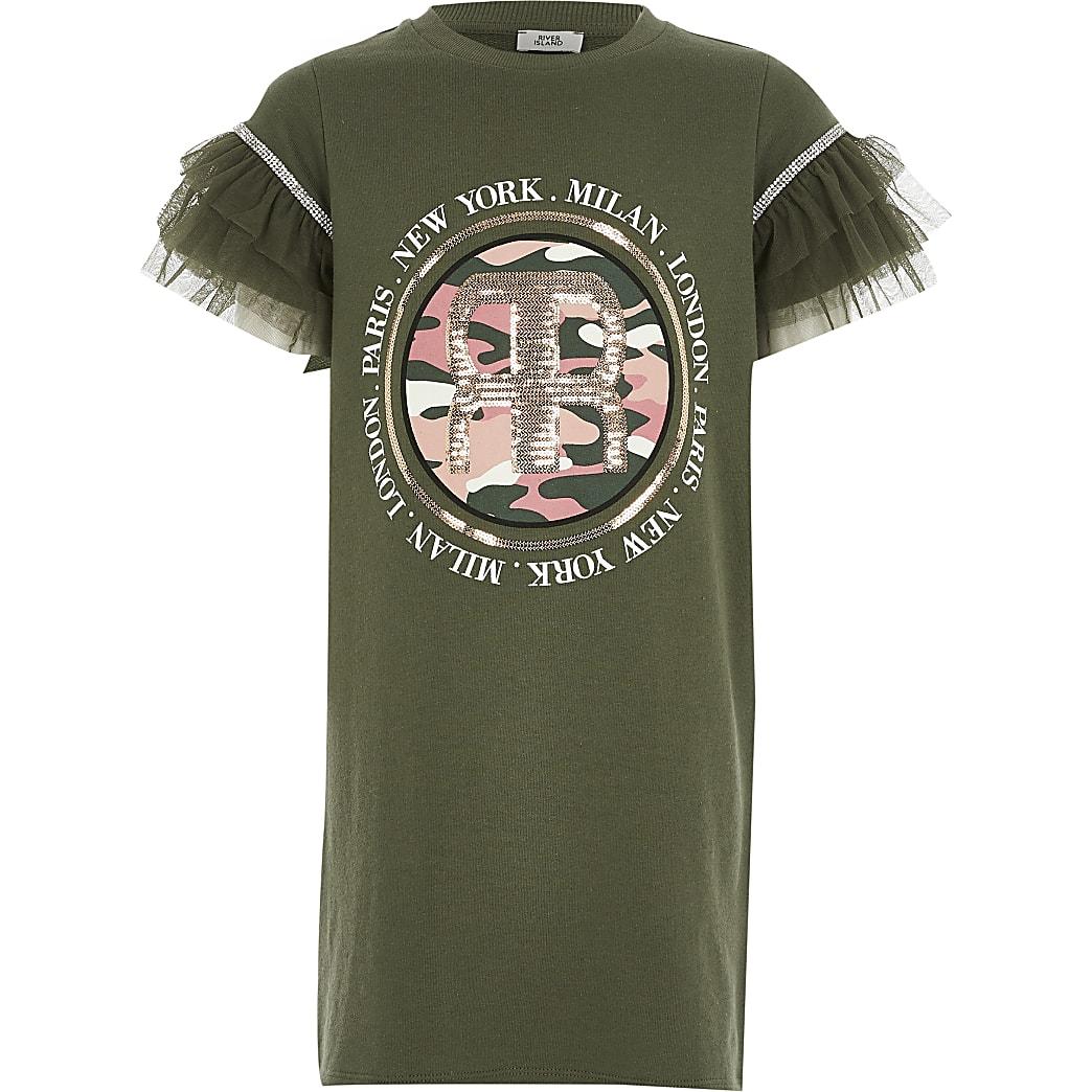Girls khaki printed mesh sleeve T-shirt dress