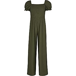 Kaki jumpsuit met pofmouwen voor gestroopte stof voor meisjes