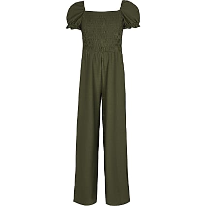 Girls khaki puff sleeve shirred jumpsuit