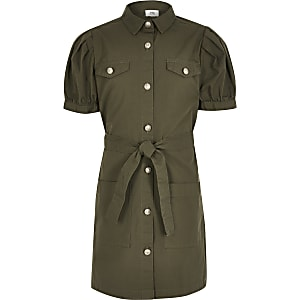 Girls khaki puff sleeve shirt dress