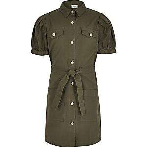 Blusenkleid in Khaki mit Puffärmeln