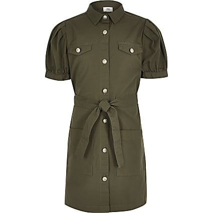 Girls khaki puff sleeve shirt dress