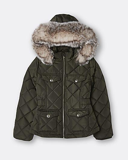 Girls khaki quilted hooded matte puffer coat