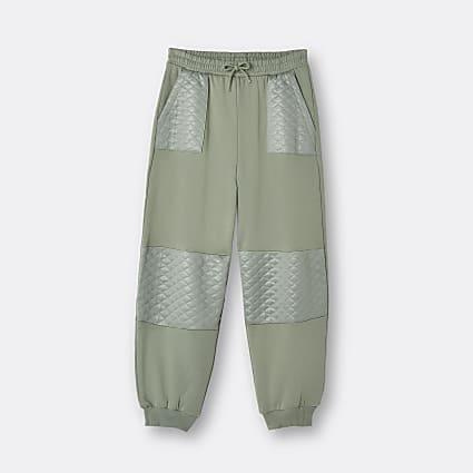 Girls khaki quilted panel joggers