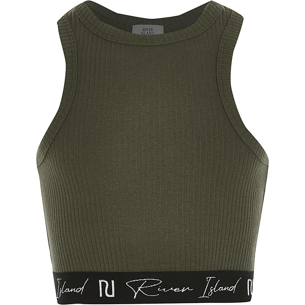 Girls khaki racer ribbed RI crop top