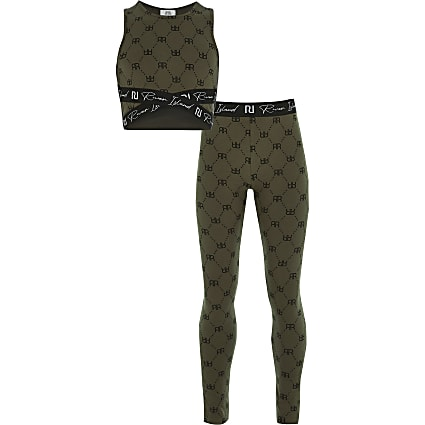 Girls khaki RI  crop top and leggings outfit
