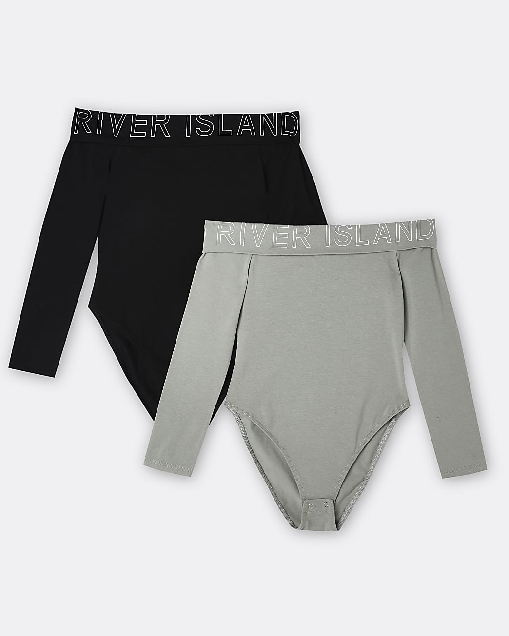 Girls khaki RI bardot bodysuits 2 pack