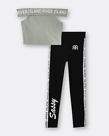Girls khaki RI crop top and leggings outfit