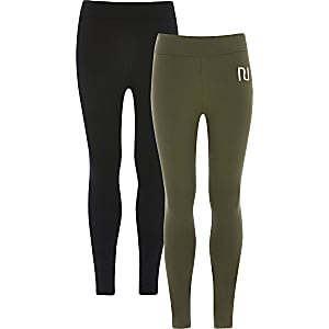 Girls khaki RI fold over leggings 2 pack