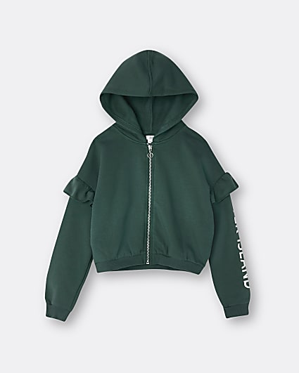 Girls khaki RI frill sleeve hoodie