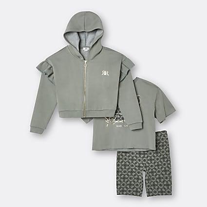 Girls khaki RI hoodie 3 piece outfit