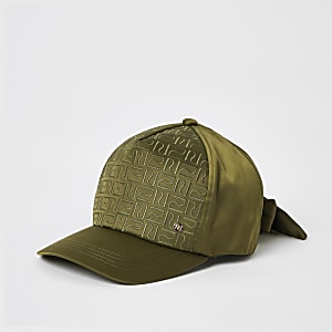 Girls khaki RI monogram satin cap