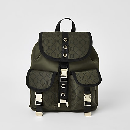 Girls khaki RI monogram utility backpack