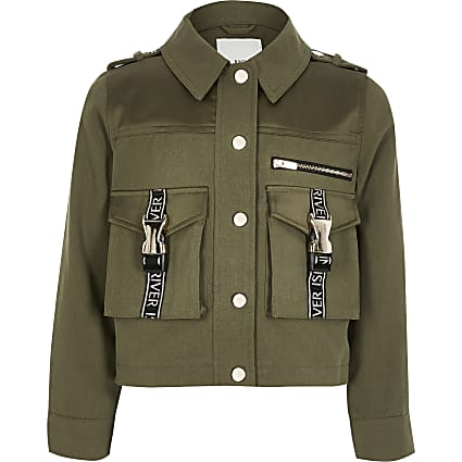 Girls khaki RI utility shacket