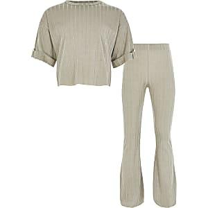 Kaki outfit met geribbeld T-shirt voor meisjes