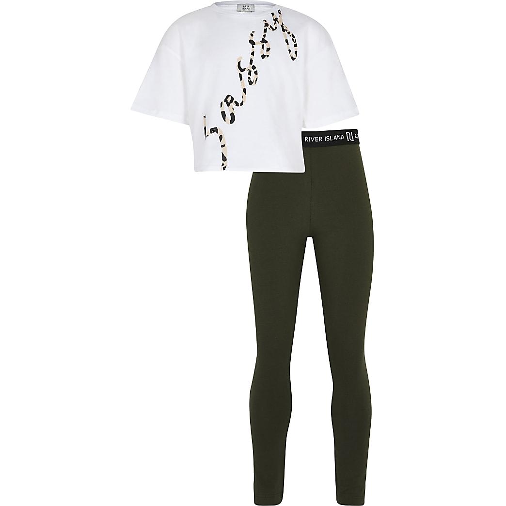 Girls khaki 'Sassy' St-shirt & legging outfit