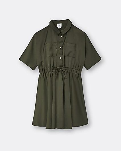 Girls khaki satin shirt dress