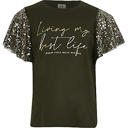 Girls khaki sequin sleeve t-shirt