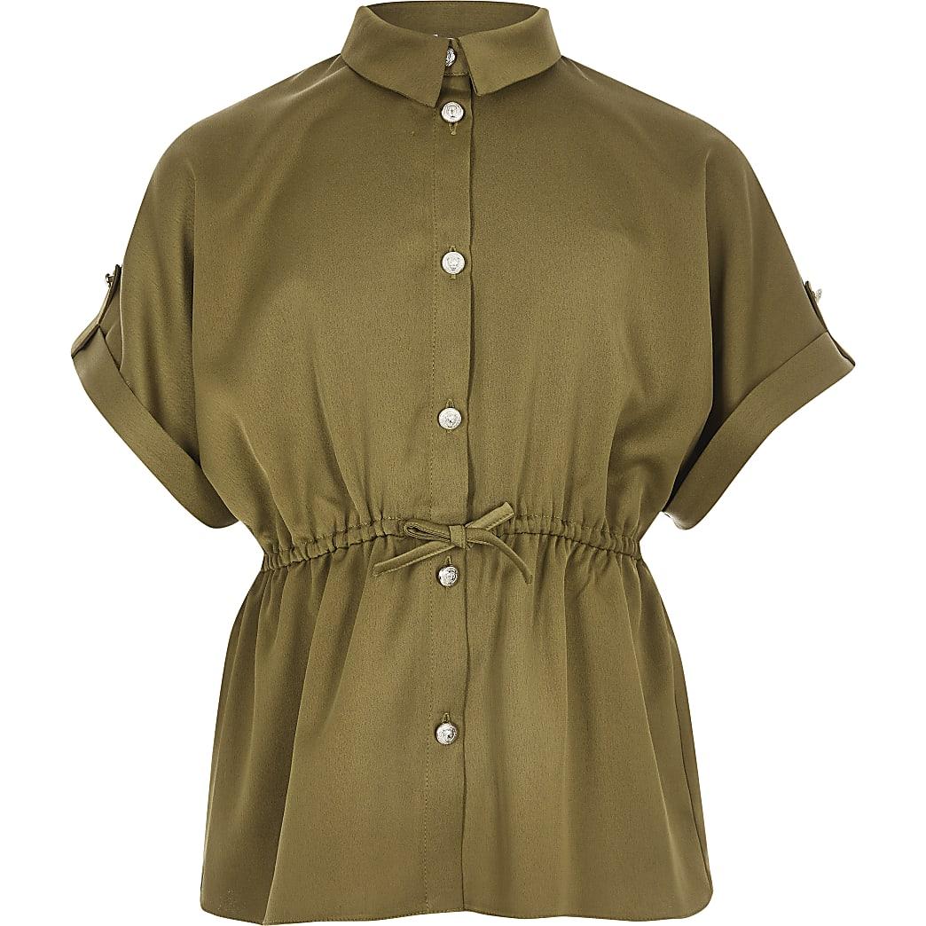 Kaki getailleerd overhemd met korte mouwen voor meisjes